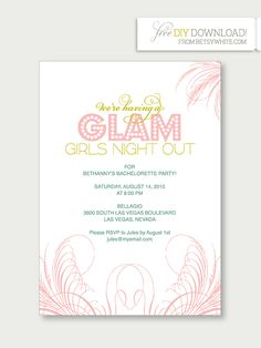Hostess with the mostess glam masquerade bachelorette party free printable bachelorette party invitations the girls will love glam girls night out bachelorette party invitations from ruffled stopboris Images