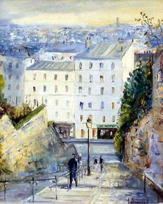 Les marches de la Butte par Daniel Lallemand © Gouche Painting, Illustrations, Mansions, House Styles, City, Building, Drawings, Buildings, Illustration