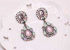 Gemstone Rhinestone Dangle Earrings