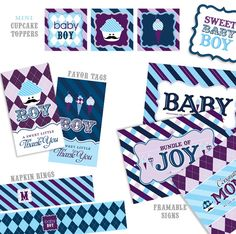 cupcake toppers, favor tags, framable signs and napkin rings.  Boy themed.  Hostess with the Mostess