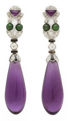A pair of 1930s Amethyst Drop Earrings. Mounted in platinum and set with amethysts, diamonds and jades, French, circa 1930. Fine antique jewelry France Art Deco era x