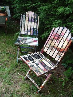 Decoupaged garden furniture.