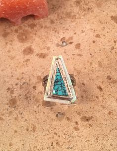 Vintage Navajo Turquoise, Opal & Sterling Silver Ring Size 7.5