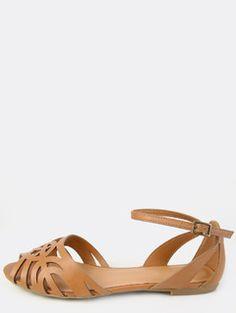 Woven Peep Toe Sandals WHISKY | MakeMeChic.COM