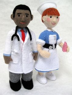 Cute knitted toys of doctor and nurse