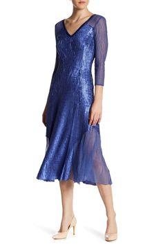 a81dcf81ebf Sequined V-Neck Midi Dress by KOMAROV on  nordstrom rack V Neck Midi Dress
