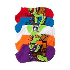 The Teenage Mutant Ninja Turtles will knock your socks off! The TMNT Socks come in a 5 pair assortment featuring logo and character graphics of Leonardo, Michelangelo, Donatello, and Raphael. Fits youth shoe sizes 11 to 3. per acc 330