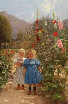 Frigyes Rudolf Friedrich Miess (1854-1935) Two girls in a blossoming garden