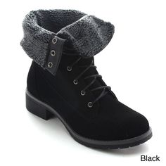 Betani Tammy-2 Women's Fold Over Cuff Combat Style Up Ankle Booties