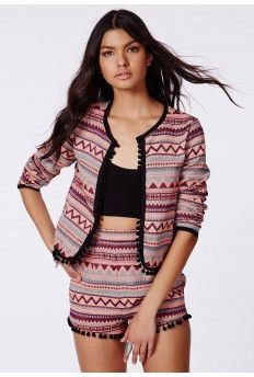 Andarela Premium Aztec Pom Pom Trim Jacket