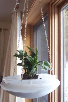 Upcycled Light Fixture Planter