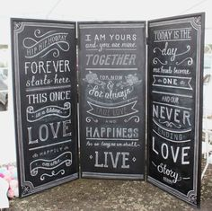 Chalkboard with quotes or parts from your vows for decor.