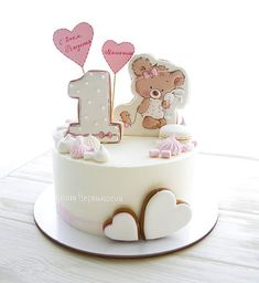 Likes, 87 Comments - Marina Chernysheva (Marina) on Ins . Fondant Cake Designs, Fondant Cakes, Cupcake Cakes, 1st Birthday Cake For Girls, Baby Birthday Cakes, Royal Icing Cakes, Buttercream Cake, Pretty Cakes, Cute Cakes