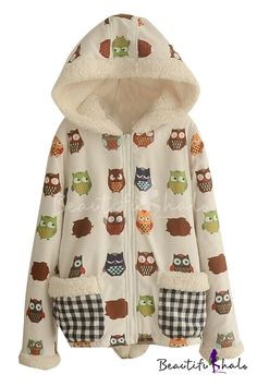fa1a72a1ac Hooded Cartoon Print Long Sleeve Coat