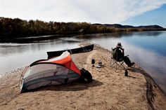 Sandbar camping on the lower Wisconsin River.