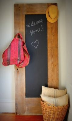 Chalk It Up. I love this ideas. write little love notes to each other before leaving to work.