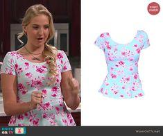 Marisa's mint floral peplum top on KC Undercover.  Outfit Details: http://wornontv.net/45467/ #KCUndercover