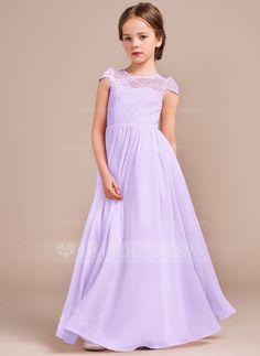 5a5faa14 A-Line/Princess Scoop Neck Floor-Length Chiffon Lace Junior Bridesmaid Dress