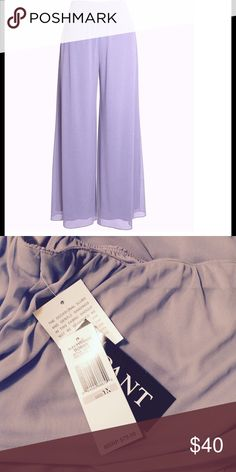 "Plus Size Sheer Overlay Wide-Leg Pants Sheer Overlay Palazzo Wide-Leg Pants by Alex Evenings  Purchase 3 or more of my items and get an additional 20% OFF!  Color:  Lilac (lavender/light purple) Solid color stretch pant with sheer flowy overlay Pull-on style  Inseam is approximately 31"" 100% polyester   dress pants, formal wear, evening, party, casual chic Alex Evenings Pants Wide Leg"