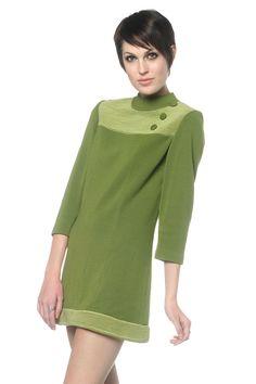 60s olive wool mini dress