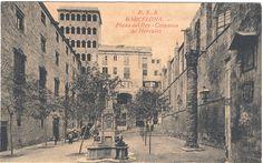 Plaça del Rei, Barcelona finals S XIX. En 1850 aun quedaban en pie seis columnas del templo de Augusto. Con los restos de dos de ellas, se levantó una nueva que fue a parar a la plaça del Rei (foto), y  finalmente fue trasladada a su lugar original (Milerenda)