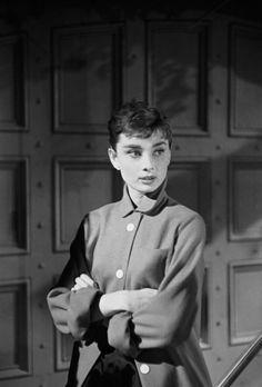 Audrey Hepburn on the set of Sabrina, 1953. Photo by Mark Shaw.