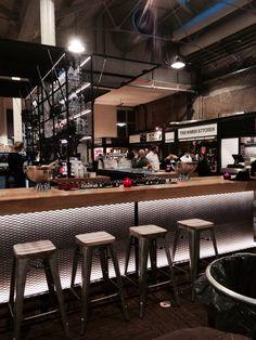 Foodhallen, Amsterdam NL Deco Restaurant, Restaurant Design, Bar Counter Design, Cafe Concept, Pub Design, Home Bar Decor, Cafe Art, Bar Interior, Bar Lighting