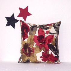 "Maroon Decorative 16"" Floral Pillow Cover, Grey Tan Cream Floral Pillow, Accent Toss Pillow Sham"