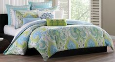 Liven up your bedroom with the bright and bold Echo Design Sardinia Reversible Duvet Cover Set. Decorated with an over-scaled paisley print motif in bright blue and green, the beautiful bedding instantly brings a luminous look to any room's décor. King Duvet Cover Sets, Queen Comforter Sets, Duvet Sets, Duvet Covers, Bed Sets, Queen Duvet, Feng Shui, Paisley Bedding, Echo Bedding