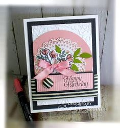 Here's another card using the Petal Palette stamp set. I used Basic Gray and Blushing Bride colors. I used a retired EF for my background, a circle c/s and a lace doil Get Well Cards, Handmade Birthday Cards, Pretty Cards, Card Sketches, Paper Cards, Palette, Flower Cards, Homemade Cards, Stampin Up Cards
