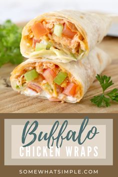 These Buffalo Chicken Wraps are stuffed with zesty buffalo chicken, crunchy vegetables, shredded cheese, and ranch dressing. They're creamy, totally delicious, and they can be made in 5 minutes or less! Rotisserie Chicken Salad, Slow Cooked Chicken, Oven Baked Chicken, Lunch Recipes, Dinner Recipes, Healthy Recipes, Dinner Ideas, Cooking Recipes, Yummy Chicken Recipes
