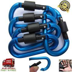 5 Aluminum Blue Carabiner Screw Locking Spring Clip Hook Rings Hardware Tool USA