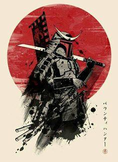 """""""Mandalorian Samurai"""" by ddjvigo Japanese style Boba Fett design Ninja Kunst, Arte Ninja, Ninja Art, Japanese Artwork, Japanese Tattoo Art, Kabuto Samurai, Samurai Warrior Tattoo, Samurai Wallpaper, Cuadros Star Wars"""
