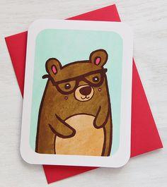 Nerdy Bear Notecard