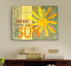 HERE COMES THE SUN Sign is made from original art by Misty Diller  Available in the following sizes: 12x16 14x20 18x24 25x34 30x40  Sign is also available as a 9x12 solid wood sign here :: https://www.etsy.com/listing/156185173/here-comes-the-sun-9x12-painted-sun-on?ref=shop_home_active  ***PRODUCT DETAILS*** Your beautiful Slatted Wood Art Sign is handled with the utmost care and is MADE TO ORDER. Sign is giclee printed directly onto wood with archival ink on slatted wood and comes ready to…