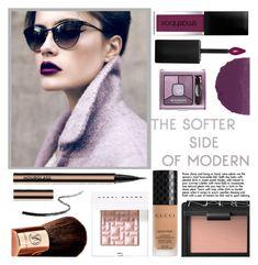 """The Softer Side of Modern"" by sinsnottragedies ❤ liked on Polyvore featuring beauty, Smashbox, NARS Cosmetics, Bourjois, Bobbi Brown Cosmetics, Gucci, Vita Liberata, modern, Beauty and boldlipstick"