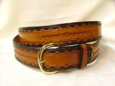 "Hand Tooled Leather Belt no. B3001 - 1 1/2 "" Wide. Dark Brown and Tan. $45.00, via Etsy."