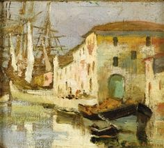 """Venice Canal Scene,"" Jane Peterson, oil on linen on board, 5.7 x 6.3"", private collection."