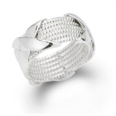 Sterling Silver 6-Row Rope X Criss Cross Ring