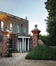 GATES OF HEAVEN | The front portico of Youngsbury, Jeremy Langmead's house in Hertfordshire, England, which was built in 1745  I love the intimate entrance and small scale of the facade.
