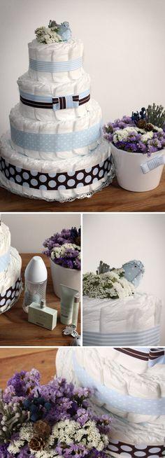 Diaper cakes - Tarta de pañales / tartas de pañales - Nueves Lunas y un Solete