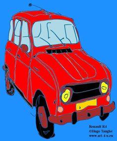 Art Item: Muismat Renault R4 uit de reeks 'Retro Cars' Deze en andere Art Items kan je terugvinden op www.art-4-u.eu