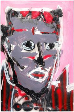 "Skot Foreman Gallery Nick  Vukmanovich ""Portrait IX""  2001 Acrylic on paper    37 x 25 in  94 x 63 cm Hand-signed ""N Vukmanovich"""