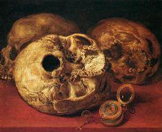 Antonio de Pereda y Salgado - Bodegón con tres calaveras y un reloj