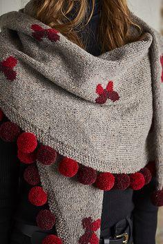 Ravelry: Pom Pom Shawl pattern by Dee Hardwicke Knitted Shawls, Crochet Shawl, Knit Crochet, Knitting Designs, Knitting Patterns, Crochet Patterns, Ravelry, Shawl Patterns, Knitting Accessories