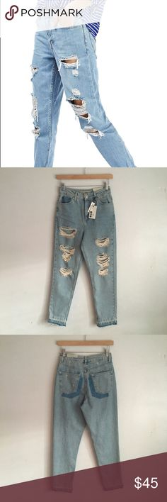 7f094abfc8f Topshop Distressed Mom Jeans with Raw Hem Brand new! Topshop Jeans Straight  Leg Ripped Jeans