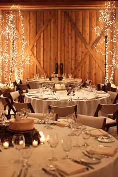 winter ranch wedding decor and food / http://www.deerpearlflowers.com/barn-wedding-reception-table-decoration/2/