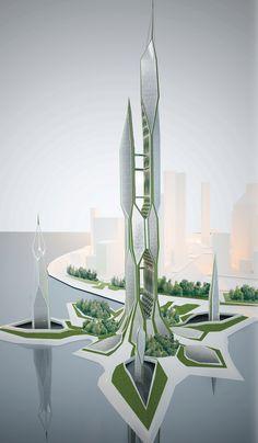 043-2 Architecture Design, Concept Architecture, Futuristic Architecture, Amazing Architecture, Tower Design, Futuristic Design, Futuristic City, Amazing Buildings, Modern Buildings