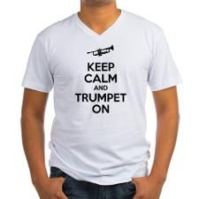 keep calm and trumpet on Mens V-Neck T-Shirt