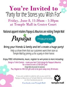 Temple Mall Party looks like a fun idea to bring more businesses to our mall.